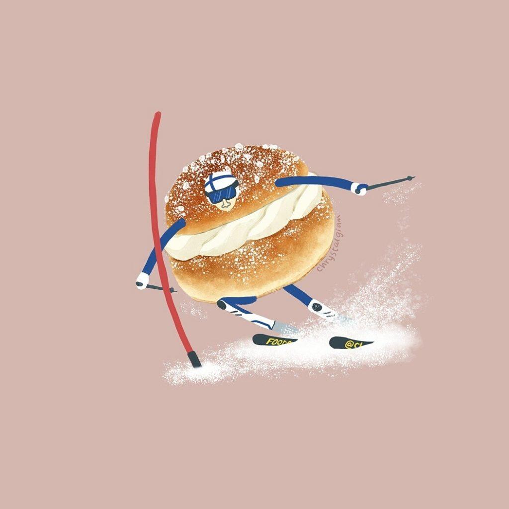 シュールでかわいい!食べ物が踊ったり走ったり色々したりするイラスト