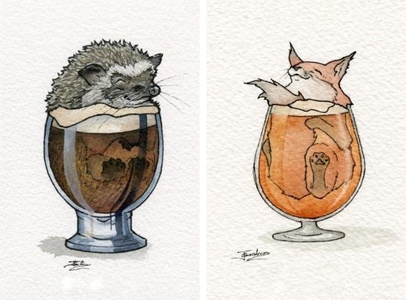 グラスに入った動物が可愛いお酒と動物を組み合わせた水彩画作品 せかch