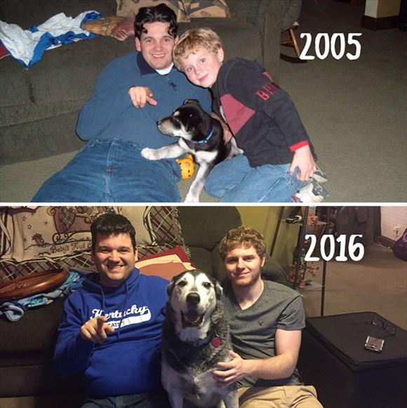 過去と現在 家族写真19