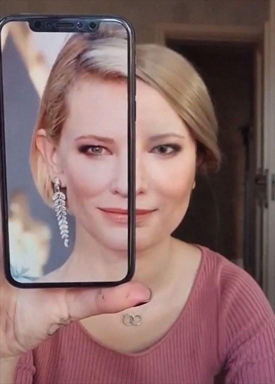 化粧でケイト・ブランシェットに変身