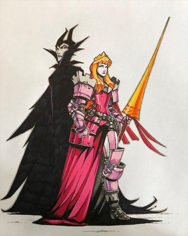 武装するオーロラ姫 戦士化