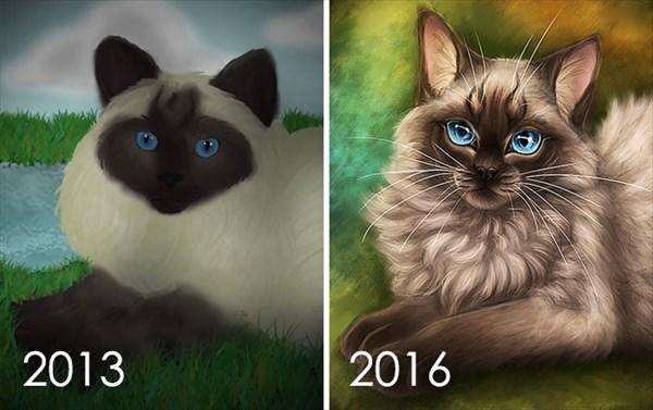 昔描いた絵を今描いてみた 猫