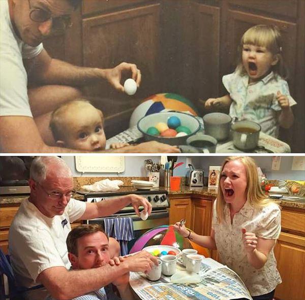 過去の写真を現在で同じように撮ってみた 家族9