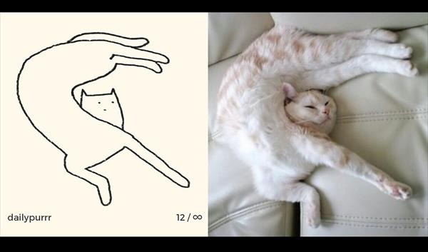 シンプル・イズ・ベスト!最小限の表現で「猫」を描いたイラストが可愛い 画像1